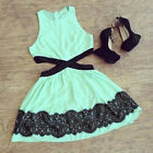 HF Sexy Women Summer Sleeveless Lace Casual Evening Party Short Slim Dress US58