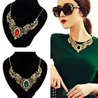Hot Fashion Women's Gold Plated Crystal Flower Pattern Choker Bib Necklace Chic