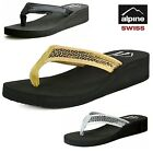 Alpine Swiss Women's Wedge Sandals Sequin Thong Flip Flops Platform Heel Shoes