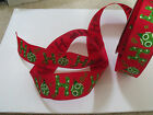 HO HO HO! Festive Baubles Red & Green Christmas - Luxury Wire Edged Ribbon