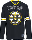 Official NHL Majestic Athletic Boston Bruins Logo Chucker Hockey LS Black Jersey