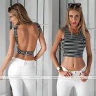 Hot Women Sleeveless Backless Stripe Vest Tank Crop Tops Casual Blouses T-shirt