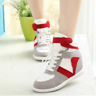 Women Fashion Patchwork Wedge Hidden Heels Canvas Sneaker Casual Shoes New Hot