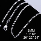 """925 Sterling Silver 2mm Curb Chain Necklace 18"""" 20"""" 22"""" 24"""" 28' 30"""""""