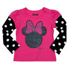 Disney Girls Pink Minnie Mouse Glitter Head Printed Faux Layered T - Toddler