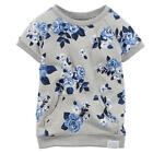 Carter's Girls Light Grey/Blue Floral Printed French Terry Raglan - Toddler