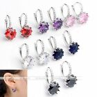 2x Women 18k White Gold Plated CZ Faceted Crystal Studded Hoop Earrings Ear Stud