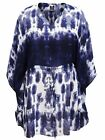 Navy Blue White & Grey Print Chiffon Tunic Kaftan Beach Top Plus Size 16 to 30
