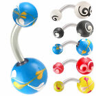 acrylic hand painted belly ring navel button barbell bar 9JDM-CHOOSE STYLE&SIZE