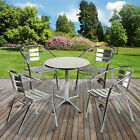 Aluminium Lightweight Chrome Bistro Sets Round Square Tables Stacking Chairs NEW