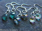 Silver plated faceted crystal earrings drop disk rainbow coated christmas gift