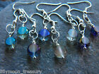 Silver plated faceted crystal earrings drop disk rainbow coated 2 christmas gift