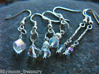 Silver plated faceted crystal earrings drop disk rainbow coated 3 christmas gift