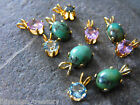 Vintage gold plated pendant African turquoise, faceted amethyst, blue topaz