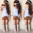 Girls Cute Blue Short Sleeve Top + Brown Shorts Casual Clothes Sets Suit  V1NF