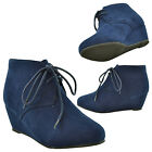 Girls Ankle Boots Toddler Youth Faux Suede Lace Up Casual Wedges Navy /RUN SMALL