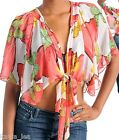 Red Multi Dolman Sleeve Cropped Shrug/Cover-Up Top