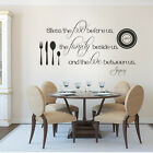 Kitchen Wall Decal Thanksgiving Bless the Food Family Love Quote Vinyl Art Decor