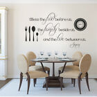 Kitchen Wall Decal Thanksgiving Bless the Food Love Inspiration Word Vinyl Decor