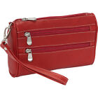Le Donne Leather Two Zip Wristlet Clutch 4 Colors Ladies Clutch Wallet NEW