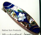 "Hair Barrette Floral design w/ Mother of Pearl Inlays in 5 color choices 3.5"" CF"