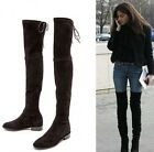 Womens Vogue Celeb Style Leather Lace Up Slouchy Over The Knee Boots Shoes