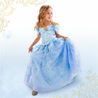 Girl Princess Cinderella Shoulder Butterfly Stamp Costume Kids Fancy Party Dress
