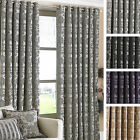 Paoletti Hanover Chenille Jacquard Lined Ready Made Ring Top Eyelet Curtains