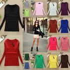 Womens Slim Casual Long Sleeve V-neck Plain T-shirt Pullover Basic Tops Blouse