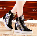 2Color Womens Fashion Lace Up Platform Wedge Color Stitching Leather Ankle Boots