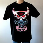 Chicago Bulls Jordan Windy City Red Angry Bull Mask Mens Black Cotton T-Shirt