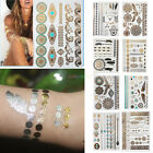 1/9 Sheets Temporary Disposable Metallic Tattoo Gold Silver Black Flash Tattoos