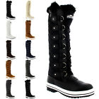 Womens Quilted Knee High Duck Fur Lined Rain Lace Up Muck Snow Winter Boots 3-10