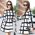 Celeb Women Long Sleeve Check Plain Print Flared Party Evening Work Swing Dress