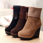 Womens Platform Wedge Heel Buckle Snow Fashion Riding Winter Ankle Boots Shoes 8