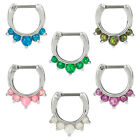 Bold Steel Created Opal Septum Clicker Stainless Steel 16G