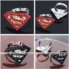 1pc Silvery Alloy Crystal Studded Pave Superman Logo Charm Finger Ring Punk Gift