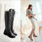 Womens Low Heel Side Zip Motorcycle Combat Lace Up Knee High Boots Shoes Plus 10