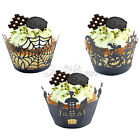 Halloween Cup Cake Black Wrapper Table Decoration Witch Spider Spooky Hauned SIL