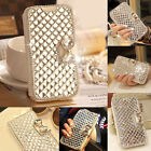 Bling Bowknot Crystal Diamond Wallet Flip Case Cover For iPhone 5 5S 6 Samsung 6