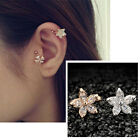 1PC Cute Flower Rhinestone Crystal Ear Cuff  Wrap Clip On Earrings Non Piercing