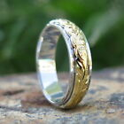 Hawaiian Jewelry Thick Silver Gold Scroll Wedding Double Ring Band 6mm SR3355