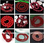 1 Strand Red Sea Coral Gemstone Rondelle Round Ball Flower Loose Beads DIY Gift