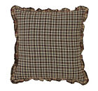 "EMERY FABRIC RUFFLED DECORATIVE ACCENT PILLOW 16X16"" BLACK BROWN CREAM RED PLAID"