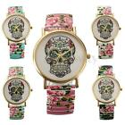 Fashion Women Sugar Skull Dial Trendy Elastic Strap Bracelet Quartz Wrist Watch
