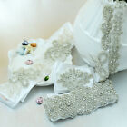 New White/Ivory Bridal Wedding Dress Rhinestone Vintage Beaded Crystal Sash Belt