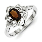 New .925 Fine Sterling Silver Diamond & Oval  Smoky Quartz Ring - Choose Size