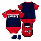 New England Patriots Baby Creeper Bib and Booties Set - Navy/Red