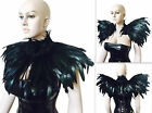 Black Feather cape Capelet Shrug Shoulder Wrap Burlesque Collar gothic Wedding