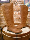 Isaac Mizrahi Tally Saddle Brown Leather & Quilted Wide Calf Riding Boots New